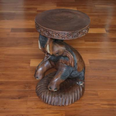 Wood stool, 'Hello Brown Elephant' - Brown Raintree Wood Elephant Stool from Thailand