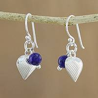Lapis lazuli dangle earrings, 'Love For Midnight' - Lapis Lazuli Heart Dangle Earrings from Thailand