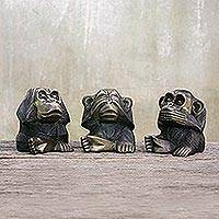 Brass figurines, 'Smart Monkeys' (set of 3) - Handcrafted Three Wise Monkeys Brass Figurines (Set of 3)
