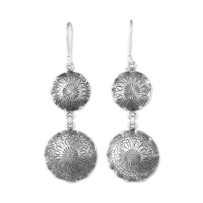 Silver dangle earrings, 'Floral Globes' - 950 Silver Floral Stamped Hill Tribe Dangle Earrings