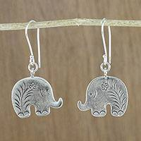 Silver dangle earrings, 'Elephant Flower' - Karen Hill Tribe Silver Floral Elephant Dangle Earrings