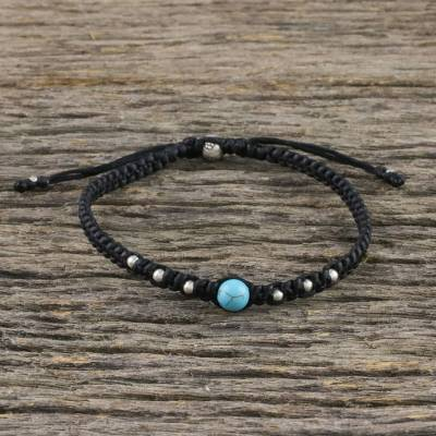 Silver beaded macrame bracelet, 'Single Bead' - Silver and Recon Turquoise Bracelet from Thailand