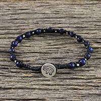 Lapis lauzli beaded bracelet, 'Petite Elephant' (Thailand)