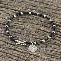 Silver beaded bracelet, 'Cross Medallion' - Karen Silver Beaded Cross Bracelet from Thailand