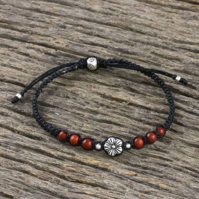 Jasper beaded macrame bracelet, 'Calm and Tranquil' - Floral Red Jasper Macrame Pendant Bracelet from Thailand