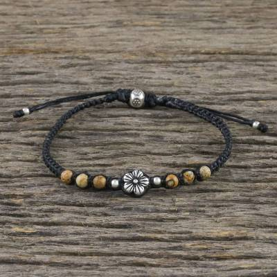 Jasper beaded pendant bracelet, 'Calm and Tranquil' - Floral Jasper Beaded Pendant Bracelet from Thailand