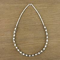 Cultured pearl and labradorite beaded necklace,