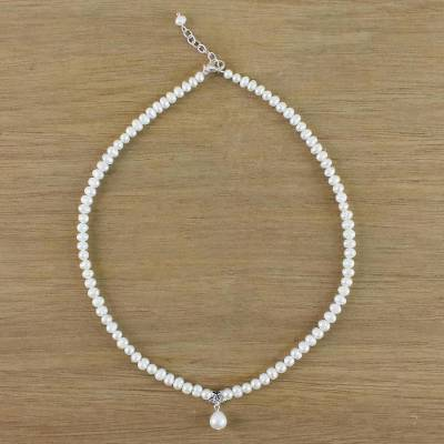 Cultured pearl beaded pendant necklace, 'White Halo' - Cultured Pearl and Sterling Silver Flower Pendant Necklace