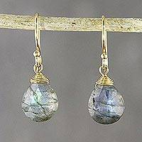 18k gold plated labradorite dangle earrings, 'Star Rain' - Faceted Labradorite Gold Plated Wire Wrapped Dangle Earrings