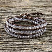 Chalcedony beaded wrap bracelet, 'Spring Fog' - Chalcedony and Leather Beaded Wrap Bracelet from Thailand