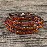 Carnelian beaded wrap bracelet,