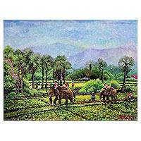'Elephant in Rice Field' (2015) - Impressionist Painting of a Rice Field from Thailand (2015)