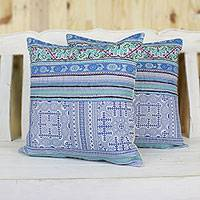 Cotton blend cushion covers, 'Hmong Culture' (pair) - Hmong Hill Tribe Cotton Blend Cushion Covers (Pair)