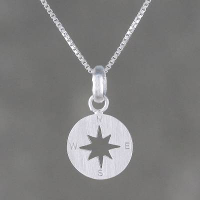 Sterling silver pendant necklace, 'Gleaming Compass' - Sterling Silver Compass Pendant Necklace from Thailand