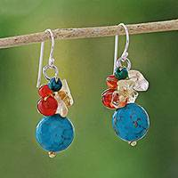 Multi-gemstone dangle earrings, 'Colorful Wonder' - Multi-Gemstone Beaded Dangle Earrings from Thailand