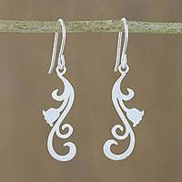 Sterling silver dangle earrings, 'Flower Cascade' - Floral Sterling Silver Dangle Earrings from Thailand