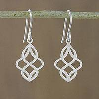 Sterling silver dangle earrings, 'Mystical Waves' - Sterling Silver Dangle Earrings with Openwork Designs