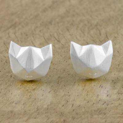 Sterling silver stud earrings, 'Cat Lover' - Geometric Cat Sterling Silver Stud Earrings from Thailand