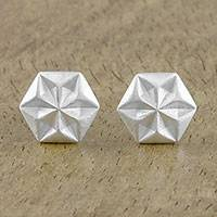Sterling silver stud earrings, 'Hexagonal Stars' - Hexagonal Sterling Silver Stud Earrings from Thailand
