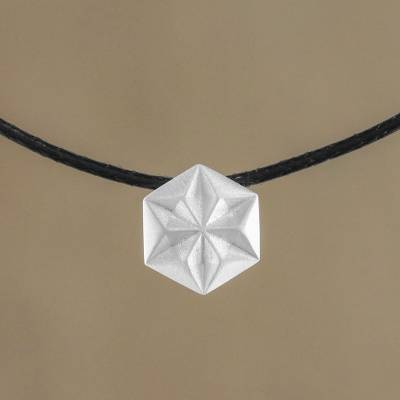 Sterling silver pendant necklace, 'Hexagonal Star' - Hexagonal Sterling Silver Pendant Necklace from Thailand