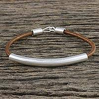Sterling silver and leather pendant bracelet, 'Everyday Style' - Sterling Silver and Leather Pendant Bracelet