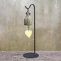 Brass bell, 'Sound of Peace' - Antiqued Brass Bell with Stand from Thailand