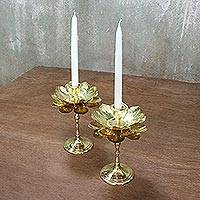 Brass candlesticks, 'Large Luminous Lotus' - Brass Lotus Flower Table Decor Candlesticks (Pair)