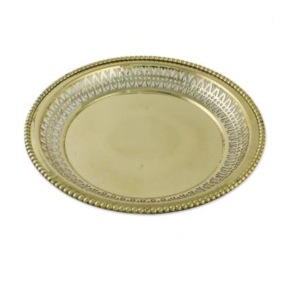 Ornate Brass Openwork Architectural-Inspired Tray