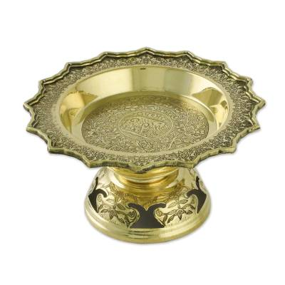 Brass Flower and Leaf Elephant Home Decorative Bowl