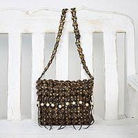 Coconut shell shoulder bag, 'Shell Chic' - Handcrafted Espresso Brown Coconut Shell Flower Shoulder Bag
