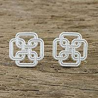 Sterling silver stud earrings, 'Journey Together' - Square Labyrinth Motif Sterling Silver Stud Earrings