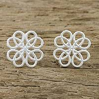 Sterling silver stud earrings, 'Inescapable Beauty' - Symmetrical Overlapping Loop Sterling Silver Stud Earrings