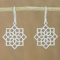 Sterling silver dangle earrings, 'Hexagonal Mandala' - Hexagonal Mandala Sterling Silver Dangle Earrings