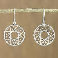Sterling silver dangle earrings, 'Geometry Play' - Line Filled Circle Sterling Silver Dangle Earrings