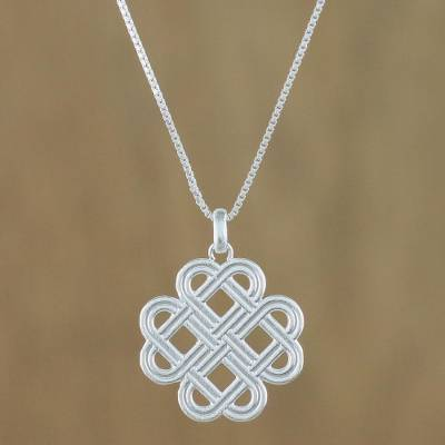 Sterling silver pendant necklace, 'Curving Illusion' - Overlapping Ovals Sterling Silver Pendant Necklace