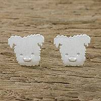 Sterling silver stud earrings, 'Westie' - Westie Terrier Sterling Silver Stud Earrings from Thailand