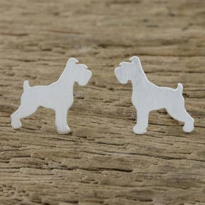 Sterling silver stud earrings, 'Schnauzer' - Schnauzer Sterling Silver Stud Earrings from Thailand