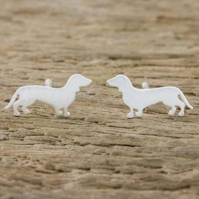 Sterling silver stud earrings, 'Dachshund' - Dachshund Sterling Silver Stud Earrings from Thailand