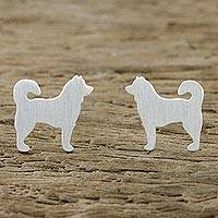 Sterling silver stud earrings, 'Siberian Husky' - Siberian Husky Sterling Silver Stud Earrings from Thailand