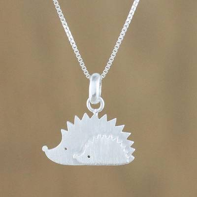 Sterling silver pendant necklace, 'Porcupines' - Sterling Silver Porcupine Pendant Necklace from Thailand