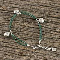 Serpentine beaded charm bracelet, 'Minty Karen' (Thailand)