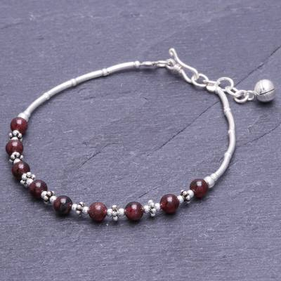 Garnet beaded bracelet, 'Classic Love' - Garnet Bracelet with Karen Silver Beads from Thailand
