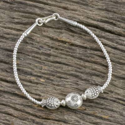 Silver beaded pendant bracelet, 'Moon Fish' - Karen Silver Beaded Pendant Bracelet from Thailand