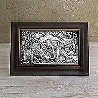 Aluminum relief panel, 'Walking Elephant Family III' - Aluminum Relief Panel of a Walking Elephant Family