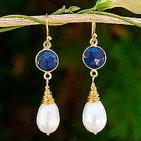 Gold plated cultured pearl and lapis lazuli dangle earrings, 'Moonlit Dawn' - Cultured Pearl and Lapis Lazuli Gold Plated Dangle Earrings