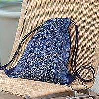 Batik cotton drawstring backpack, 'Garden Paths' - Indigo Batik Cotton Arc and Flower Motif Drawstring Backpack