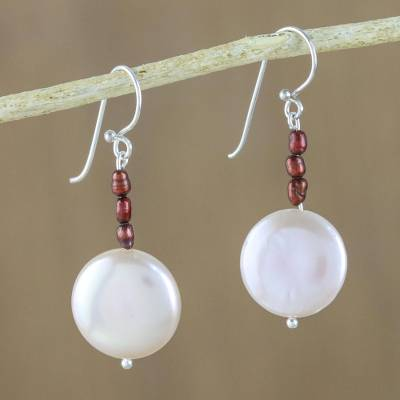 Cultured pearl dangle earrings, 'Cute Moon' - Cultured Pearl Dangle Earrings from Thailand