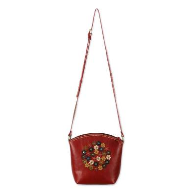 Floral Red Leather Sling Handbag Handmade in Thailand