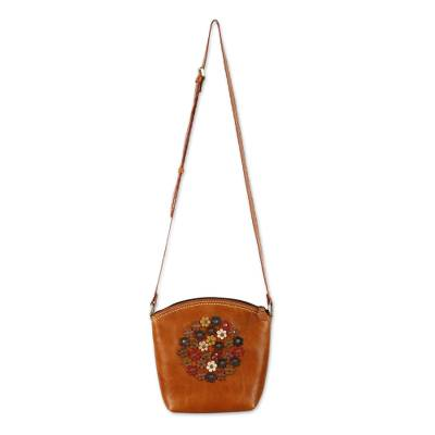 Floral Orange Leather Sling Handbag Handmade in Thailand