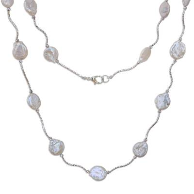 Rhodium Plated Cultured Pearl Link Necklace from Thailand